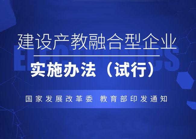 国家发展改革委 教育部关于印发《建设产教融合型企业实施办法(试行)》的通知
